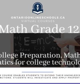 Grade 12, College Preparation, Mathematics for College Technology