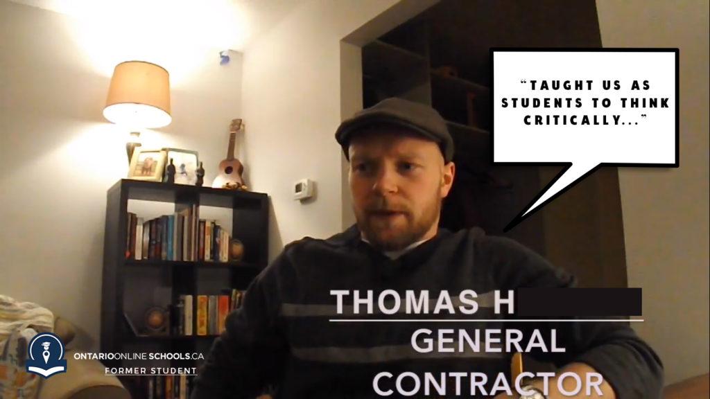 Former OntarioOnloineSchools.ca Student Thomas H.. speaks