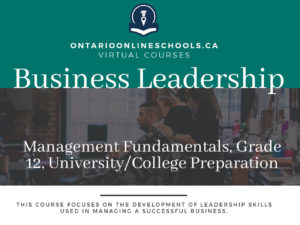 Business Leadership: Management Fundamentals, Grade 12, University/College Preparation