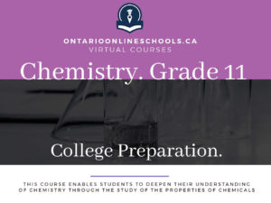 Grade 11, Science. Chemistry. College Preparation, SCH3C