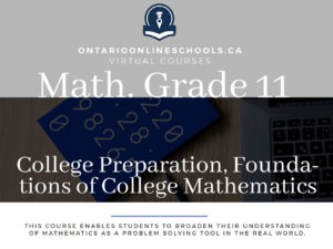 Grade 11, Mathematics. Foundations for College Mathematics. College Preparation, MBF3C