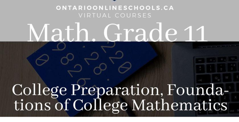 Grade 11, Mathematics. Foundations for College Mathematics. College Preparation, MBF3C