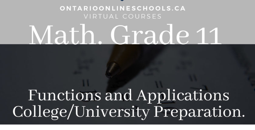 Grade 11, Mathematics. Mathematics, Functions and Applications. University/College Preparation, MCF3M