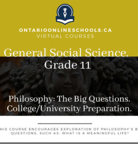Grade 11, Social Studies and the Humanities. Philosophy: The Big Questions. University/College Preparation, HZB3O